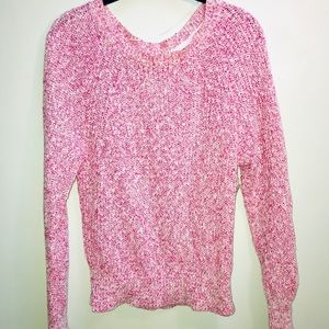 Free People Knit Pink and White Marled Sweater